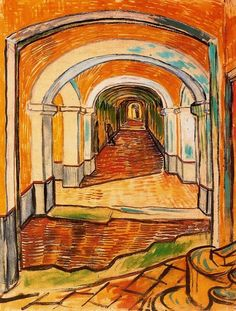Vincent van Gogh, A Corridor in the Asylum (1889). Black chalk and gouache on pink Ingres paper, 61.5 x 47 cm. The Metropolitan Museum of Art, New York.