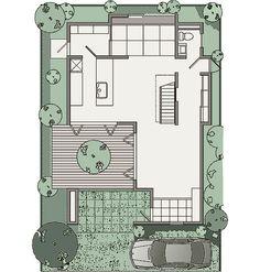 """図: 1F The main """"Genius"""" home floor plan.  First floor."""