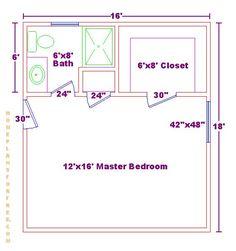 Master bedroom 12x16 floor plan with 6x8 bath and walk in closet