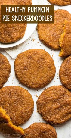 Healthy Pumpkin Pie Snickerdoodles – chewy & only 103 calories! These clean eating cookies do taste JUST like pumpkin pie! Low Calorie Cookies, Low Calorie Desserts, Healthy Cookies, Low Calorie Recipes, Healthy Dessert Recipes, Healthy Baking, Healthy Low Calorie Snacks, Recipes Dinner, Cookie Recipes