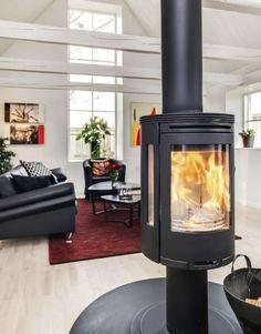 Black Contura wood stove.