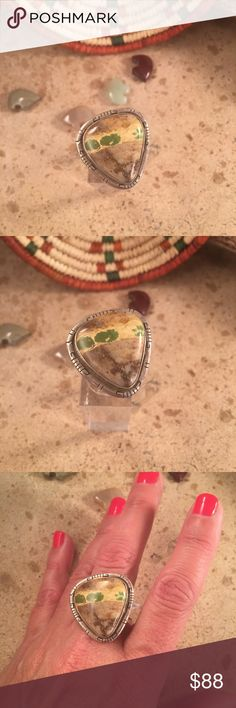 Ribbon Turquoise & Sterling Navajo ring size 8.5 This is a wonderful handmade piece by the Navajo artist Scott Skeets. This Ribbon Turquoise stone is one of a kind. The length of the ring is 1 inch long and 1 inch wide. This piece is signed by the artist and stamped Sterling.    Thank you for checking out this item. Jewelry Rings