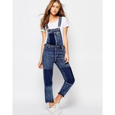 Pull&Bear Patchwork Dungarees (48 BAM) ❤ liked on Polyvore featuring jumpsuits, blue, tall jumpsuit, blue jumpsuit and white jumpsuit