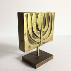 Mid Century 1960s Brutalist Brass Menorah by realsimpledeals