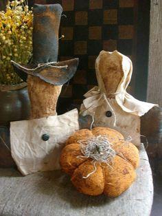 Primitive Fall Pilgrims and Pumpkin Shelf Sitters