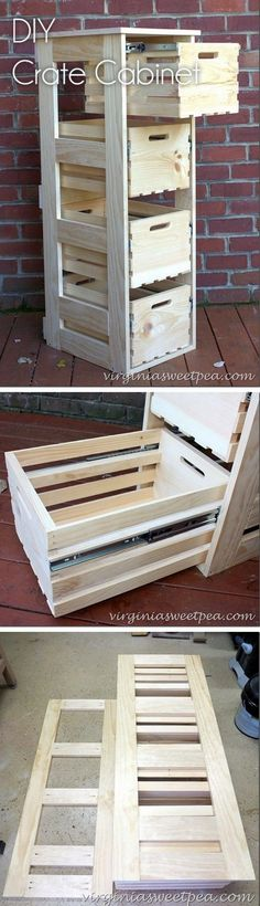 Check out how to build an easy #DIY crate cabinet with sliding drawers #rustic #HomeDecorIdeas @istandarddesign