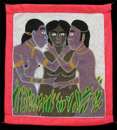 """Mireille Delice, Marassa Trois Vodou Banner, c. 2011. Sequins and beads on fabric, 22"""" x 19 1/2"""""""
