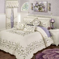Inspired by a country garden, the Blossom Floral Grande Oversized Quilted Bedspread is full of elegant beauty. Cotton bedspread has flowers and leafy vines. Purple Bedspread, Purple Bedding Sets, Purple Bedrooms, French Bedroom Decor, Gold Bedroom, Bedroom Ideas, Master Bedroom, Daybed Bedding, Luxury Bedding Collections
