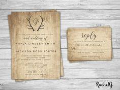 Rustic Wedding Invitation Set - Country Barn Wedding Invitation - Wood Grain & Antlers - Digital Files - DIY Wedding PDF  {WHAT YOU GET}  DIGITAL FILE - High Resolution digital file PDF & JPG - print on your own. ---------- OR -------------- PRINTED INVITATIONS - Invitations are
