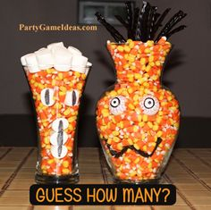 Candy Corn Guessing game is a classic Halloween party and office activity. Add extra elements that take up space and make the jar more interesting. Unique shape vase/jar/container. Winner gets the candy!