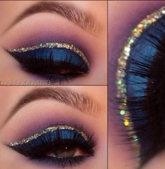 Beautiful blue and glitter eye make up look Gold Makeup, Blue Eye Makeup, Glitter Makeup, Gold Glitter Eyeshadow, Glitter No Rosto, Arabian Makeup, Cheer Makeup, Tattoo Henna, Glitter Shirt