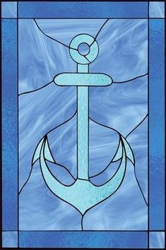 Stained Glass Nautical Anchor-- tattoo right foot. To keep me grounded