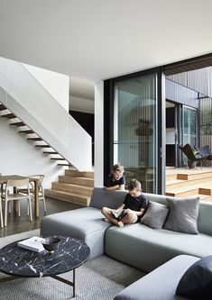 The Ridgeway House saw Ha Architecture work closely with fellow architect Steve Coster to design a compact charred timber extension to a Victorian weatherboard. Box Architecture, Melbourne Architecture, Villa, Clever Design, Chair Design, Decoration, New Homes, House Design, Living Room