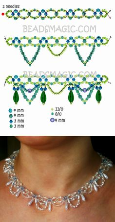 Free pattern for beaded necklace Ameli Seed Bead Jewelry, Bead Jewellery, Wire Jewelry, Jewelry Crafts, Crystal Jewelry, Jewelry Art, Jewelry Ideas, Silver Jewelry, Jewelry Accessories