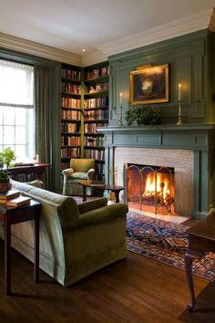 Heimbibliothek Nook English Country Ideas Home; home library corner i . - Heimbibliothek Nook English Country Ideas Home; home library corner i …, - Library Fireplace, Room Design, Cozy Fireplace, Country Living Room Design, Cozy House, Winter Living Room, Home Decor, Cozy Library, Country Living Room