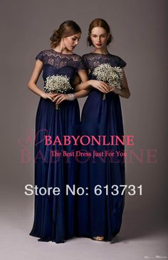 2014 Modest Lace Sheer Illusion Neck Empire Chiffon Navy Blue Bridesmaid Dresses Long With Short Sleeves and Belt BO4334   IN GRAPE