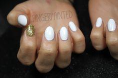 Sharp nails white and golden