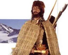 Reconstruction of what Otzi might have looked like, wearing the items found in his final resting place.