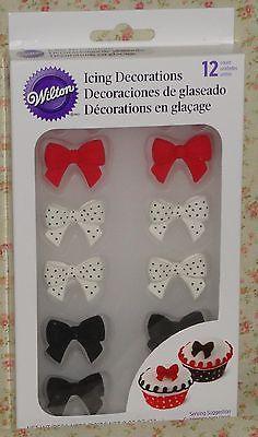 Bows,Red,Black,Whitew/dots, Edible Cookie/Cupcake Toppers/ Royal Icing , WILTON