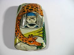 Vintage USSR Russian Soviet Tin Toy Car With Giraffe