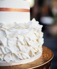 Detail shot of fancy square ruffles  #cake #weddingcake #wedding #cakestagram #fondant #gumpaste #ruffles #white #rosegold #details #professional #cakedesigner #saltlakecity #slc #utah #sugar #sweet #dessert #pin #mysugarrush
