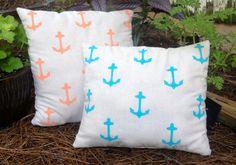 Anchor away pillow handpainted handsewn osnanburg fabric pillow anchor pillow design  on Etsy, $24.00