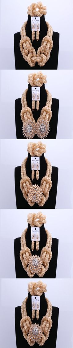 2017 Big Design Gold Color Owl Costume Crystal Beads Nigerian Wedding African Beads Dubai Jewelry Sets For Women