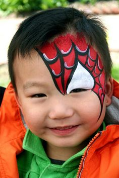 38 Spiderman Face Painting Ideas For Kids Hulk Face Painting, Lion Face Paint, Superhero Face Painting, Dragon Face Painting, Face Painting For Boys, Face Paintings, Halloween Painting, Best Face Paint, Simple Face Painting