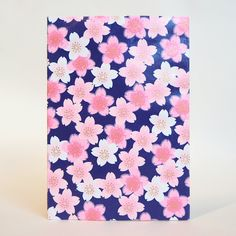 Japanese Yuzen Washi Card Holder - Pink Shades Cherry Blossom Navy Japanese Minimalism, Oyster Card, Travel Cards, Japanese Patterns, Unique Cards, Weekend Projects, Japanese Culture, Card Holders, Pattern Paper