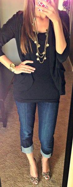 Black, jeans, gold necklaces