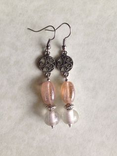 Peach & Clear Glass Bead with Silver Scroll Earrings on Etsy, $6.00