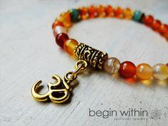 egin Within Jewelry Vitality Energy Bracelet • Carnelian & Amazonite with OM Charm $34 @ www.downdogboutique.com #YogaGifts #Yoga