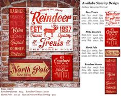 Reindeer Names 8 x 24 Canvas  North Pole 10 x 20 Canvas customized  Maiden, NC 28650 to the North Pole