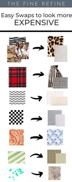 KNOW YOUR PATTERNS! 70 easy swaps to upgrade your wardrobe and make it look more elegant and expensive.    Shop Smarter and add items that will add value to your closet.    Learn to dress better at The Fine Refine  #Lookexpensive