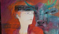Brigitte Meßmer Aug in Aug Zeichnung,Pigmente auf Leinwand