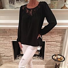 Stunning lace inset blouse! Beautiful princess sleeve lace cut out blouse with ties at cuffs! Tops Blouses