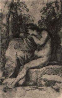 Figurina Ein weiblicher Akt schlafend auf einem Stein by Salvator Rosa