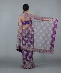 Chantilly Lace  | Home / Apparel / Gold Embellished Chantilly Lace Saree