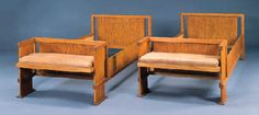 "PAIR OF OAK BEDS  FRANK LLOYD WRIGHT FOR THE FRANCIS W. LITTLE HOUSE, ""NORTHOME"", WAYZATA, MINNESOTA, CIRCA 1912"