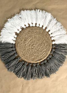 Bohemian Crafts, Boho Diy, Dollar Tree Decor, Dollar Tree Crafts, Rope Decor, Shabby Chic Wall Decor, Tree Wall Decor, Yarn Wall Hanging, Boho Room