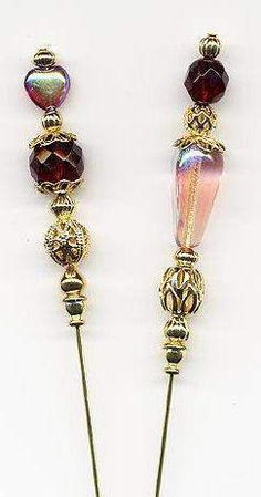 Garnet Hearts and Tears Hatpins (Hat Pins) - Hatpins - Roses And Teacups Hijab Pins, Victorian Hats, Diy Hat, Stick Pins, Bobbin Lace, Pin Cushions, Lapel Pins, Crystal Beads, Beaded Jewelry