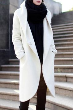 Cocoon white Hoodie Coat & a white hijab  ..... so elegant and classy ..... simply too beautiful