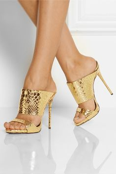 Heel measures approximately 120mm/ 5 inches with a 10mm/ 0.5 inches platform Gold leather Slip on Small to size. See Size & Fit tab.