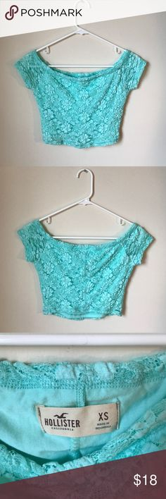 Hollister Crop Top Size XS Sea foam green size XS Hollister crop top, worn only once, with floral lace pattern and lining underneath. Hollister Tops Crop Tops