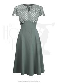 40s Grable Tea Dress - Sage Polka