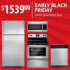 """Refresh your whole kitchen for a """"steel"""" with our 4-piece stainless appliance package from Frigidaire. Don't wait for Nov. 29 - enjoy it before Thanksgiving at Black Friday prices  from Warners' Stellian."""