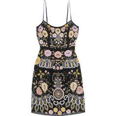 Needle & Thread Embellished embroidered crepe mini dress ($530) ❤ liked on Polyvore featuring dresses, vestidos, black, flower dress, embellished dress, short mini dress, mini dress and sparkly dresses