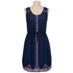 Ethnic Embroidery Scoop Collar Sleeveless Drawstring Waist Stylish Women's Sundress, DEEP BLUE, S in Dresses 2014 | DressLily.com