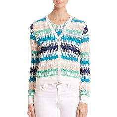 M Missoni Zigzag Short Cardigan ($495) ❤ liked on Polyvore featuring tops, cardigans, apparel & accessories, multi, v neck cardigan, white v neck top, white cardigan, short white cardigan and long sleeve tops