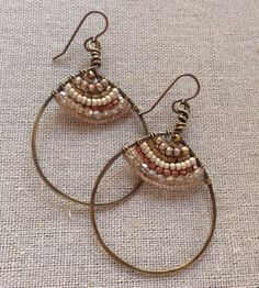 Woven Textile Earrings  by LenDesignsJewelry on Etsy, $75.00